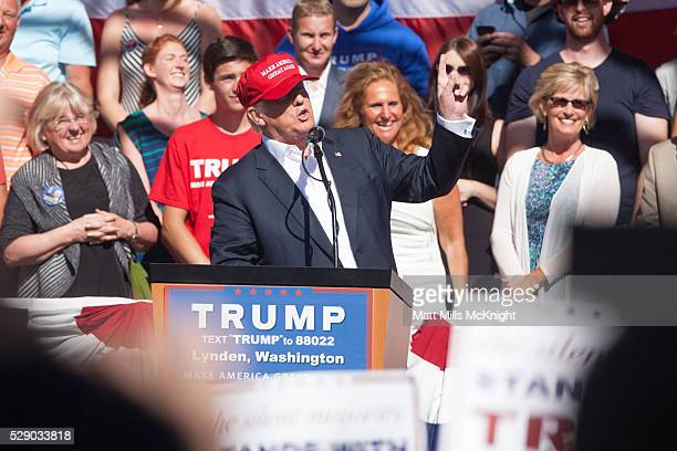 Republican presidential candidate Donald Trump gives a speech during a rally at the The Northwest Washington Fair and Event Center on May 7 2016 in...