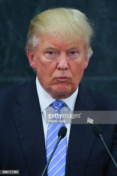 Republican presidential candidate Donald Trump gives a speech during after meeting President of Mexico Enrique Pena Nieto at Los Pinos on August 31,...