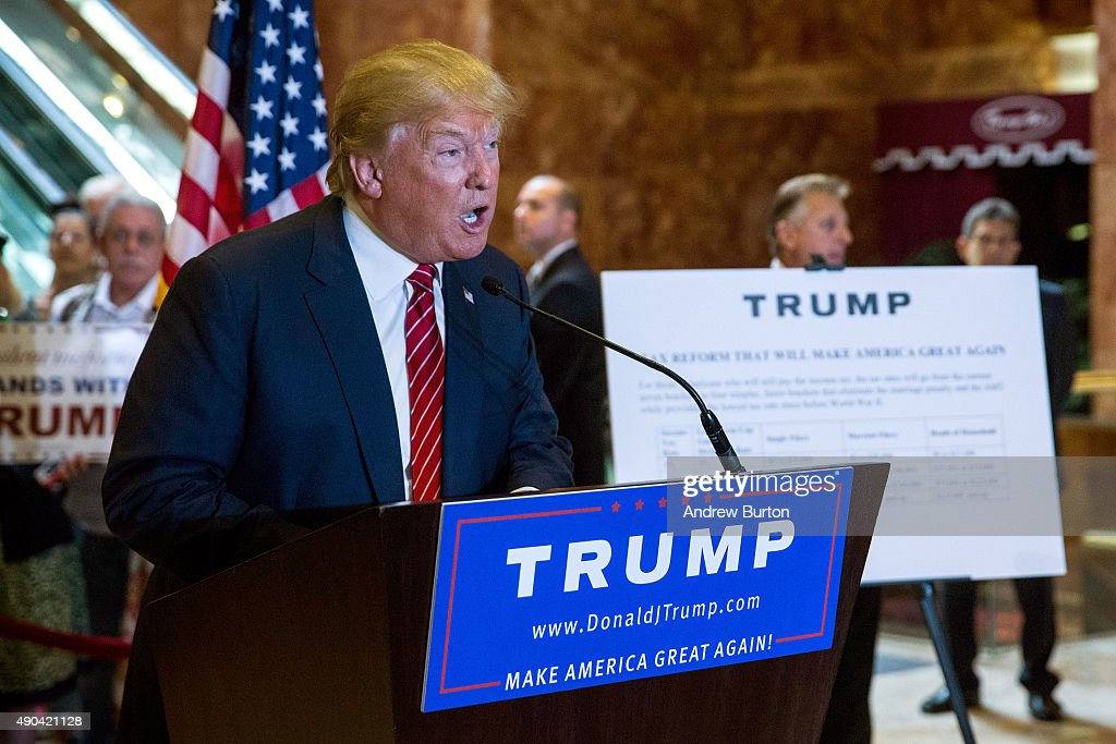 Donald Trump Holds Press Conference To Announce His Tax Plan : News Photo