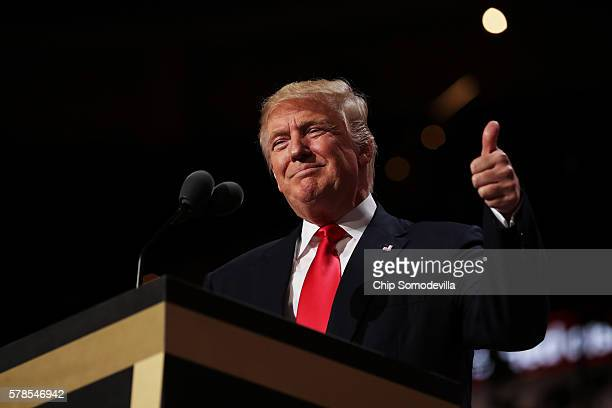 Republican presidential candidate Donald Trump gives a thumbs to the crowd during his speech on the fourth day of the Republican National Convention...