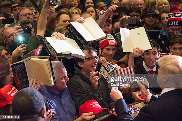 Republican presidential candidate Donald Trump greets supporters following a rally at the Nugget February 23 2016 in Sparks Nevada The Nevada GOP...