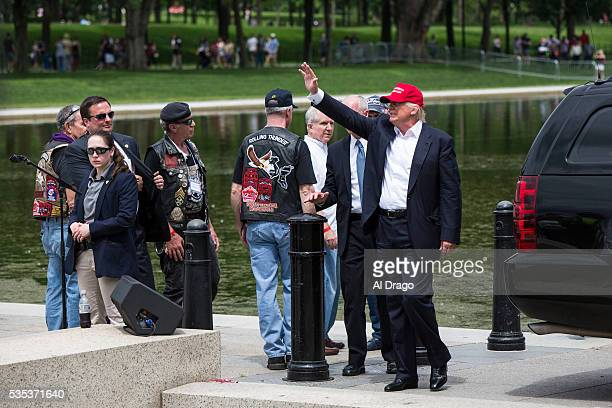 STATES MAY 29 Republican presidential candidate Donald Trump greets supporters and bikers on the National Mall during the Rolling Thunder Inc XXIX...