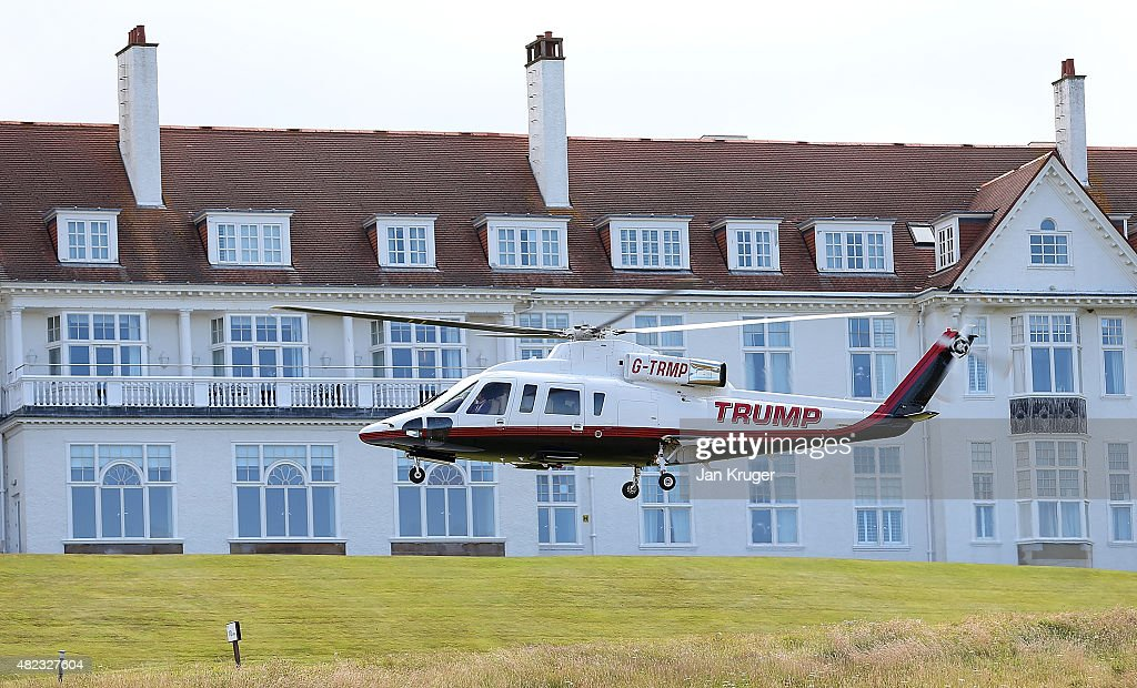 Republican Presidential Candidate Donald Trump helicopter transports him to visit his Scottish golf course Turnberry on July 30, 2015 in Ayr, Scotland. Donald Trump will answer questions from the media at a press conference where reporters will be limited to questions just about golf.