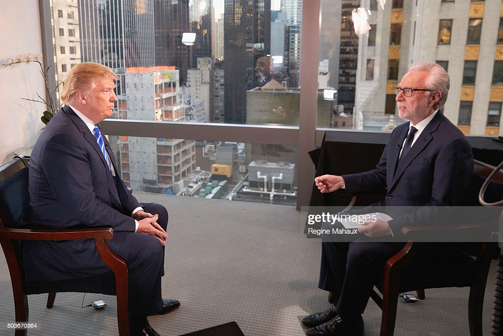Republican Presidential Candidate Donald Trump interviewed by journalist Wolf Blitzer for The Situation Room on CNN on January 6, 2016 in New York City.