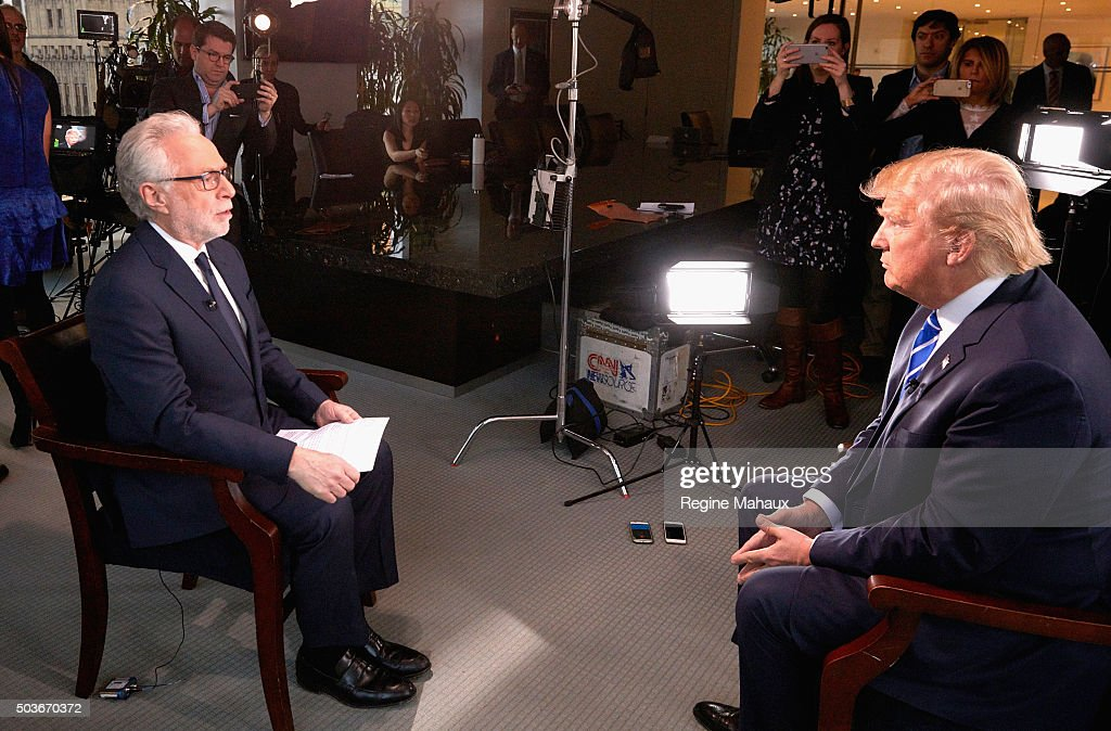 Presidential Candidate Donald Trump Interviewed By Wolf Blitzer For CNN