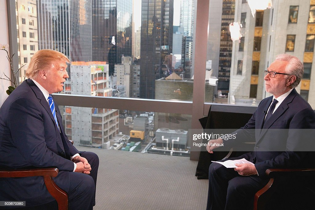 Presidential Candidate Donald Trump Interviewed By Wolf Blitzer For CNN : News Photo
