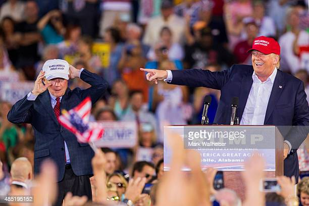 S Republican presidential candidate Donald Trump introduces Alabama Senator Jeff Sessions Mobile during his rally at LaddPeebles Stadium on August 21...
