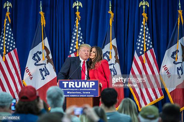 Republican presidential candidate Donald Trump is greeted by his wife Melania Trump at a campaign rally at the Ramada Waterloo Hotel and Convention...