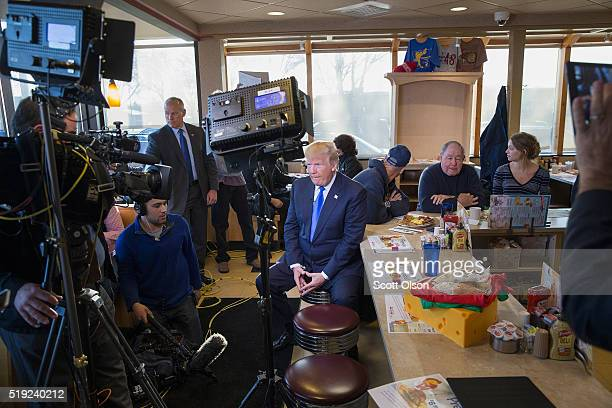 Republican presidential candidate Donald Trump is interviewed by Fox News at a George Webb diner on April 5 2016 in Wauwatosa Wisconsin Wisconsin...