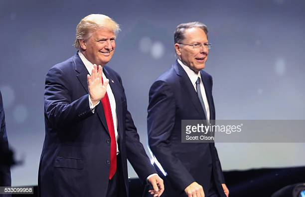 Republican presidential candidate Donald Trump is introduced with Wayne LaPierre Executive Vice President of the National Rifle Association at the...