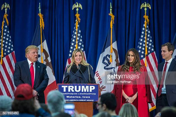 Republican presidential candidate Donald Trump is joined on stage by his wife Melania Trump daughter Ivanka Trump and soninlaw Jared Kushner at a...