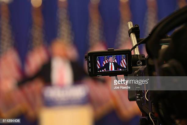 Republican presidential candidate Donald Trump is seen in a television cameras view finder during a press conference at the Trump National Golf Club...
