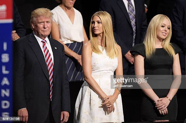 Republican presidential candidate Donald Trump, Ivanka Trump and Tiffany Trump stand during the third day of the Republican National Convention on...