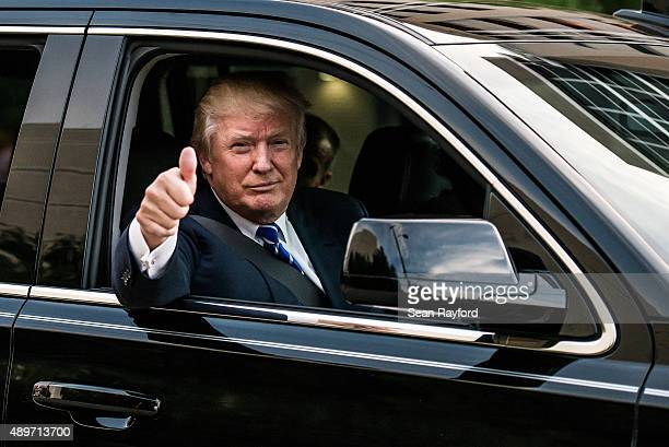 Republican presidential candidate Donald Trump leaves a campaign event September 23 2015 in Columbia South Carolina Earlier today Trump tweeted...