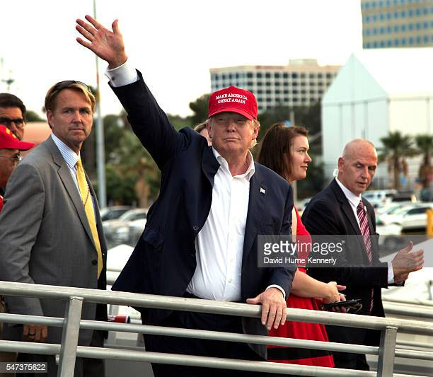 """Republican presidential candidate Donald Trump leaving a """"Veterans for a Strong America"""" rally aboard the USS Iowa, a decommissioned battleship, in..."""