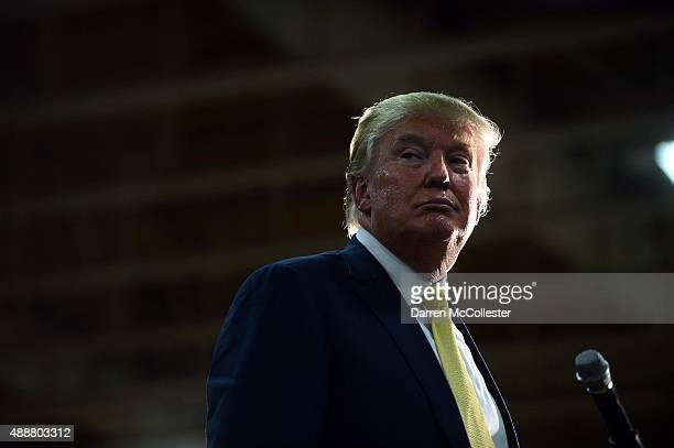 Republican Presidential candidate Donald Trump listens to a question during a town hall event at Rochester Recreational Arena September 17 2015 in...