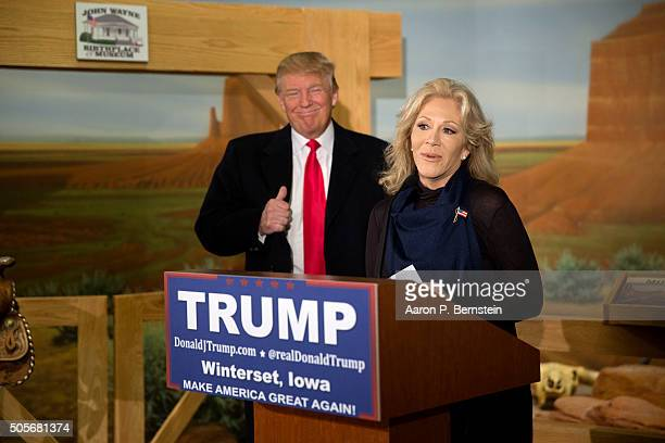 Republican presidential candidate Donald Trump looks on as he receives the endorsement of Aissa Wayne John Wayne's daughter at the John Wayne...