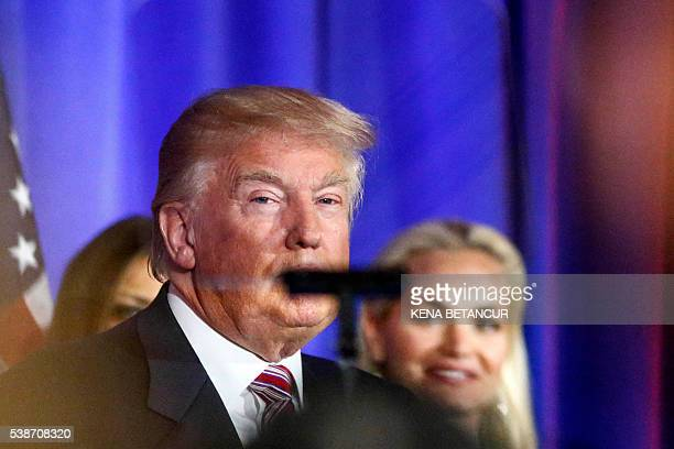 Republican presidential candidate Donald Trump looks to the teleprompter as he delivers remarks following primaries in California Montana New Jersey...