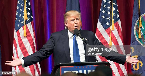Republican presidential candidate Donald Trump makes a speech at a campaign rally on March 5 2016 in Wichita Kansas The Republican party was holding...