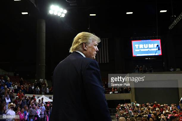 Republican presidential candidate Donald Trump motions to the crowd following a speech at a rally on May 26 2016 in Billings Montana According to a...
