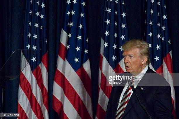 Republican Presidential Candidate Donald Trump outlines his campaign's Security and Foreign policies for a small group in the Lincoln Room of the...