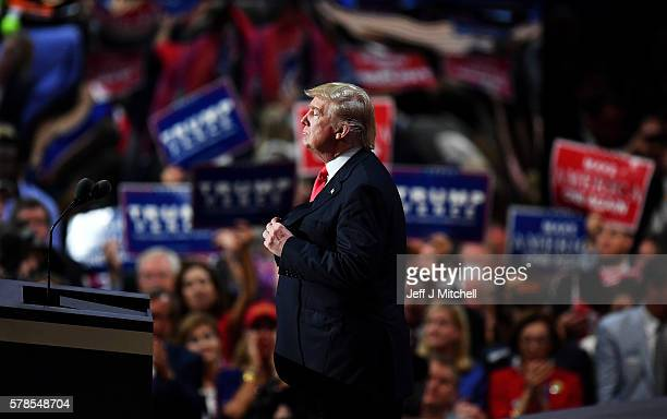 Republican presidential candidate Donald Trump pauses during his speech on the fourth day of the Republican National Convention on July 21 2016 at...