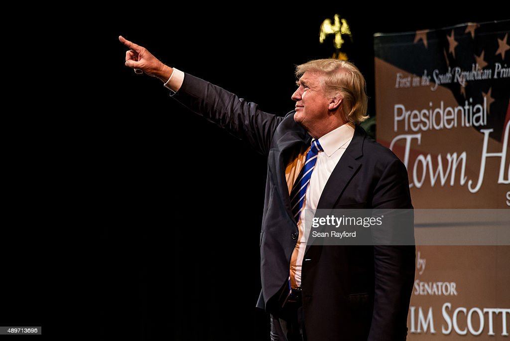 Republican presidential candidate Donald Trump points at the crowd after a campaign event September 23, 2015 in Columbia, South Carolina. Earlier today, Trump tweeted 'FoxNews has been treating me very unfairly & I have therefore decided that I won't be doing any more Fox shows for the foreseeable future.'