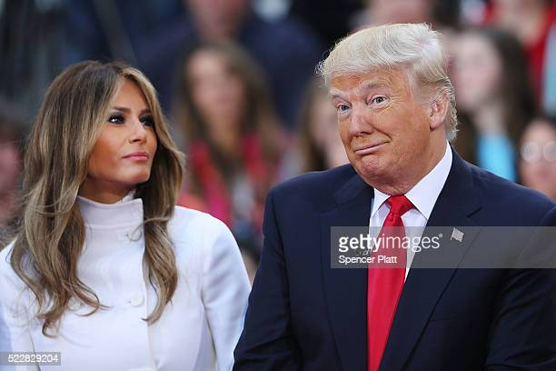 Republican presidential candidate Donald Trump sits with his wife Melania Trump while appearing at an NBC Town Hall at the Today Show on April 21...