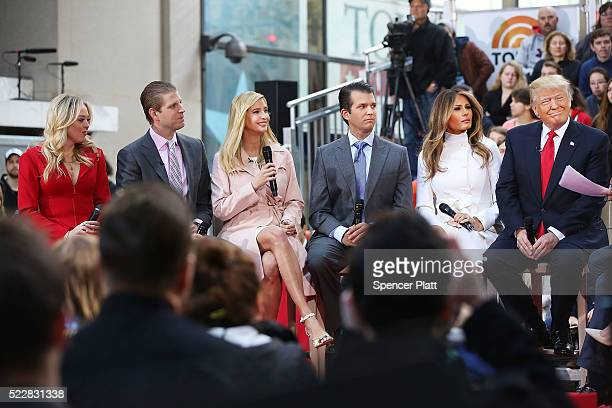 Republican presidential candidate Donald Trump sits with his wife Melania Trump and from left daughter Tiffany son Eric daughter Ivanka and son...