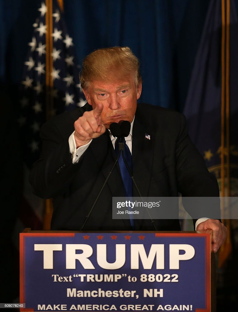 Republican presidential candidate Donald Trump speaks after Primary day at his election night watch party at the Executive Court Banquet facility on February 9, 2016 in Manchester, New Hampshire. Trump was projected the Republican winner shortly after the polls closed.