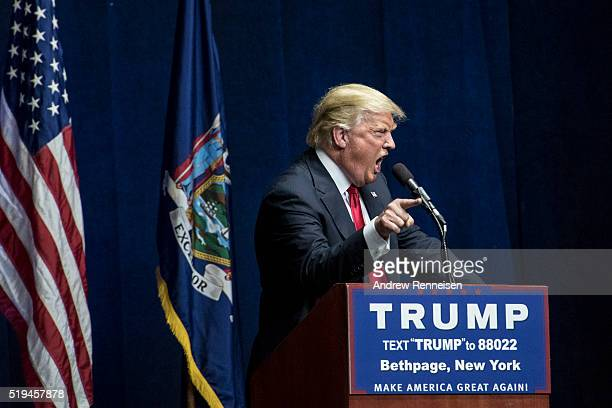 Republican Presidential Candidate Donald Trump speaks at a campaign rally on April 6 2016 in Bethpage New York The rally comes ahead of the April 15...