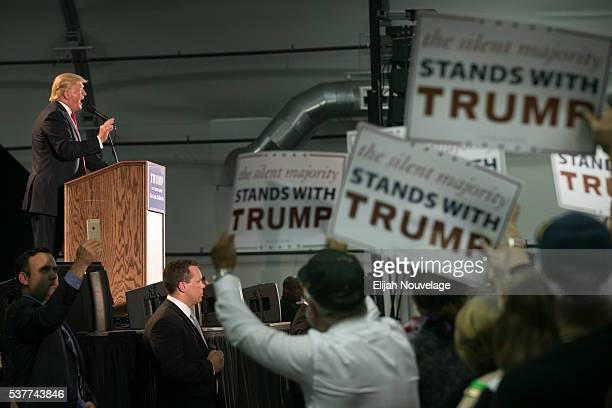 Republican Presidential candidate Donald Trump speaks at a campaign rally on June 2 2016 in San Jose California Trump is campaigning in California...