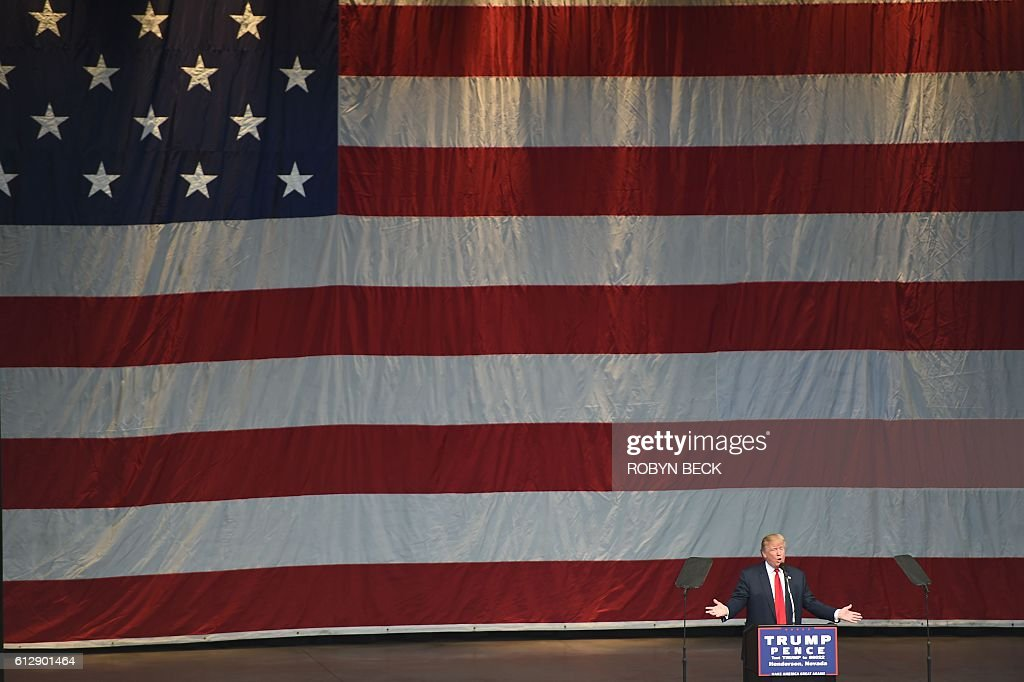 Republican presidential candidate Donald Trump speaks at a campaign rally at the Henderson Pavilion, October 5, 2016 in Henderson, Nevada. / AFP / Robyn Beck