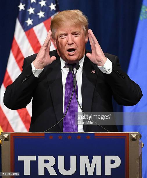 Republican presidential candidate Donald Trump speaks at a caucus night watch party at the Treasure Island Hotel Casino on February 23 2016 in Las...