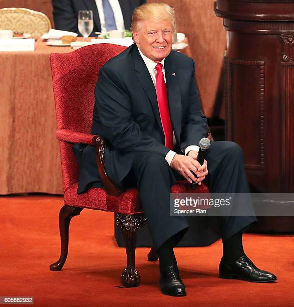 Republican presidential candidate Donald Trump speaks at a lunch hosted by the Economic Club of New York on September 15 2016 in New York City...