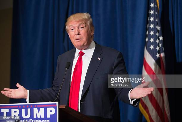 Republican presidential candidate Donald Trump speaks at a press conference which he held before his campaign event at the Grand River Center on...