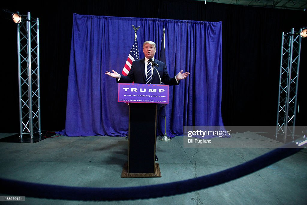 Republican presidential candidate Donald Trump speaks at a press conference before delivering the keynote address at the Genesee and Saginaw Republican Party Lincoln Day Event August 11, 2015 in Birch Run, Michigan. This is Trump's first campaign event since his Republican debate last week.