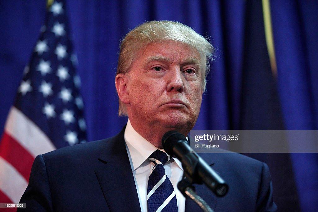 Donald Trump Addresses GOP Lincoln Day Event In Michigan : News Photo