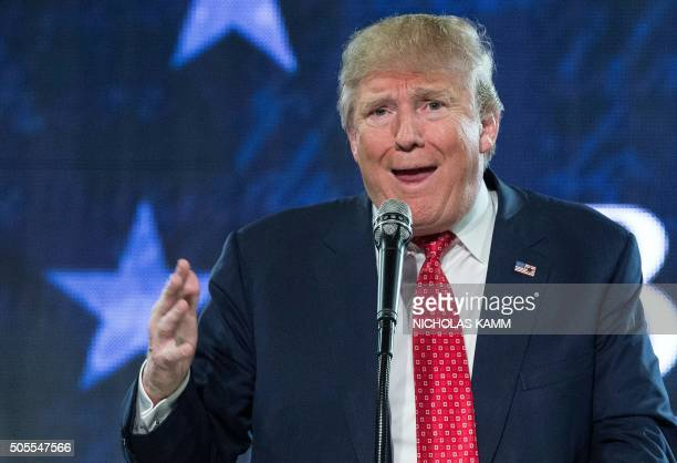 US Republican presidential candidate Donald Trump speaks at a rally at Liberty University in Lynchburg Virginia January 18 2016 / AFP PHOTO /...