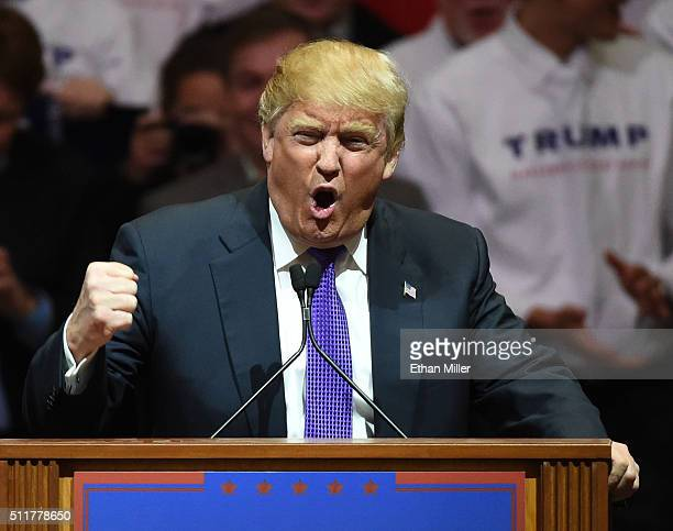 Republican presidential candidate Donald Trump speaks at a rally at the South Point Hotel Casino on February 22 2016 in Las Vegas Nevada Trump is...