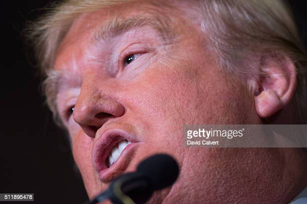 Republican presidential candidate Donald Trump speaks at a rally at the Nugget on February 23 2016 in Sparks Nevada The Nevada GOP caucus is tonight