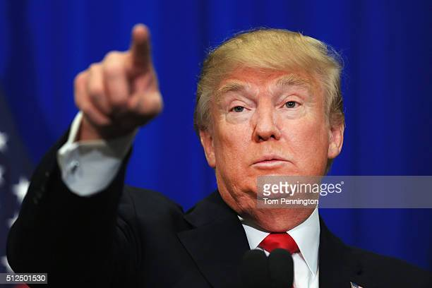 Republican presidential candidate Donald Trump speaks at a rally at the Fort Worth Convention Center on February 26 2016 in Fort Worth Texas Trump is...