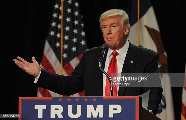 Republican Presidential Candidate Donald Trump speaks at a rally at the Iowa Events Center in Des Moines Iowa on Friday August 2016