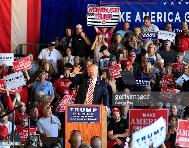 Republican presidential candidate Donald Trump speaks at a rally at Grand Junction Regional Airport on October 18 2016 in Grand Junction Colorado...