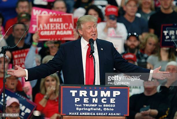 US Republican presidential candidate Donald Trump speaks at a rally at The Champions Center Expo in Springfield Ohio on October 27 2016 / AFP / Paul...