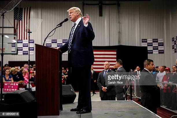 Republican presidential candidate Donald Trump speaks at a rally at the Open Door Christian Academy on October 28 in Lisbon Maine Trump is in a close...