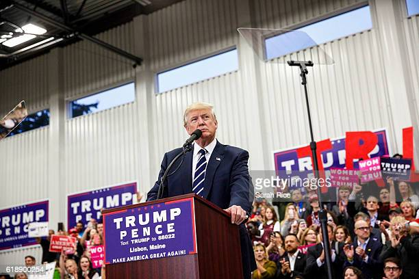 Republican presidential candidate Donald Trump speaks at a rally at the Open Door Christian Academy on October 28 in Lisbon, Maine. Trump is in a...
