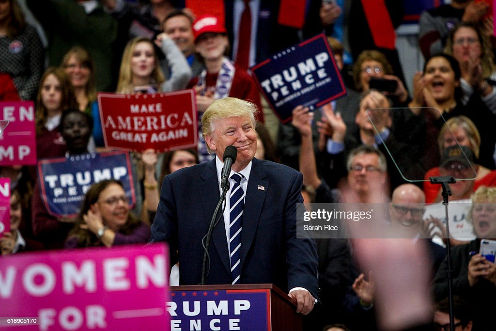 GOP Presidential Nominee Donald Trump Campaigns In Maine : News Photo