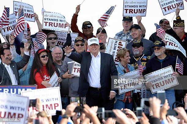 Republican presidential candidate Donald Trump speaks at a rally in front of the USS Wisconsin on October 31 2015 in Norfolk Virginia With just 93...
