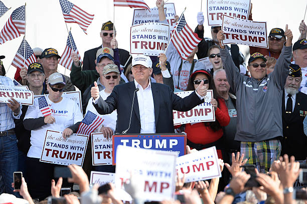donald trump holds campaign event at the uss wisconsinの写真および